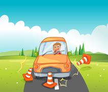 A reckless driver bumping the traffic cones - stock illustration