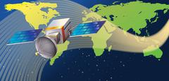 A satellite in the outerspace - stock illustration