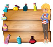 An empty signboard with a girl and bottles of perfumes Stock Illustration