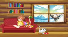 A little girl reading a book Stock Illustration