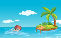 A teenager swimming at the sea with a small island - stock illustration