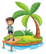 An island with a boy holding an archery - stock illustration