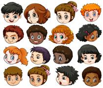 Heads of different people - stock illustration