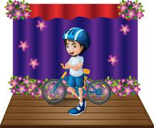 Stock Illustration of A stage with a male biker standing in the middle