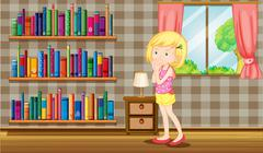 A girl inside a house full of books Stock Illustration