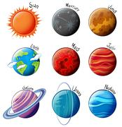 Planets of the Solar System - stock illustration