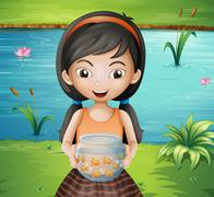 Stock Illustration of A smiling young girl holding an aquarium