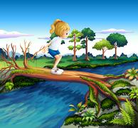A girl playing above the trunk Stock Illustration