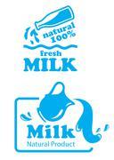 atural milk labels or badges - stock illustration