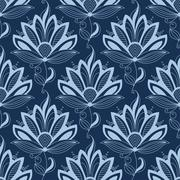 Blue persian paisley seamless floral pattern Stock Illustration