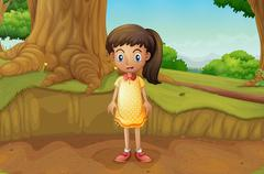 Stock Illustration of A little girl near the roots of a giant tree