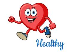 Running healthy red heart character Stock Illustration
