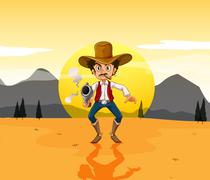 A cowboy holding a gun in the middle of the desert - stock illustration