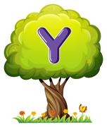 A tree with a letter Y - stock illustration