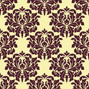 Floral seamless pattern with yellow flowers on brown Stock Illustration