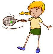A simple sketch of a female tennis player - stock illustration