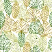 Seamless pattern of outline autumnal leaves Stock Illustration