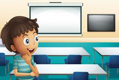 A boy inside a meeting room Stock Illustration