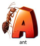 A letter A for ant - stock illustration