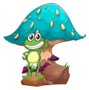 Stock Illustration of A frog standing above the rock below the giant mushroom