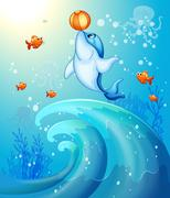 A dolphin playing a ball under the sea Stock Illustration