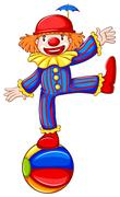 A simple drawing of a playful clown - stock illustration