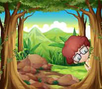 A boy hiding at the forest Stock Illustration