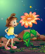 A little girl amazed by the giant flower near the rocks - stock illustration