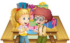 Stock Illustration of Two adorable kids near the table with many gifts