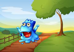 A pathway in the hilltop with a monster walking - stock illustration