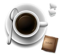 A topview of a cup with a coffee - stock illustration