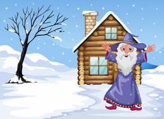 Stock Illustration of A wizard outside the house on a snowy season