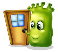 A monster knocking at the door - stock illustration