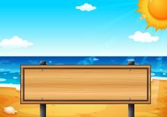 An empty wooden signage at the beach - stock illustration