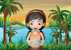 A girl holding an aquarium Stock Illustration