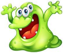 A green slime monster - stock illustration
