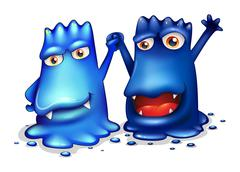 Happy blue monsters in one team Stock Illustration