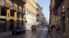 Types of Palermo. Vittorio Emanuele (Cassaro) street near Quattro Canti. Stock Footage