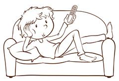 A simple sketch of a lazy young man Stock Illustration