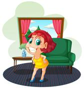 A fat young woman inside the house Stock Illustration