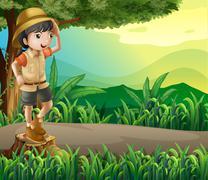 A kid above a stump sightseeing - stock illustration