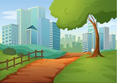 Stock Illustration of A pathway going to the tall buildings
