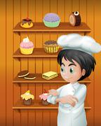 Stock Illustration of A chef in front of the baked goodies