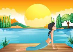 A girl performing yoga along the river - stock illustration