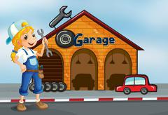 Stock Illustration of A girl holding a tool standing in front of a garage
