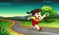 A young girl running - stock illustration