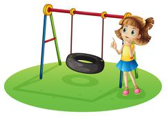 A girl thinking beside a swing Stock Illustration