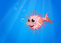 A pink puffer fish in the ocean - stock illustration