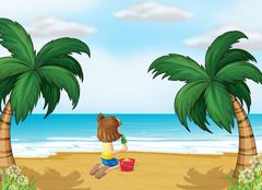 A little girl playing at the beach alone Stock Illustration