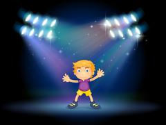 Stock Illustration of A cute little boy dancing in the middle of the stage